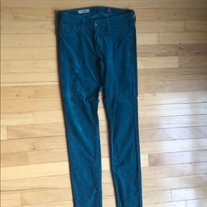 AG Teal Corduroy Super Skinny Legging Jeans